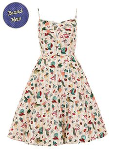 Brand New Retro 50s Style Kitsch Atomic Flamingo Fairy Swing Dress Kitsch Pin Up Rockabilly 1950s