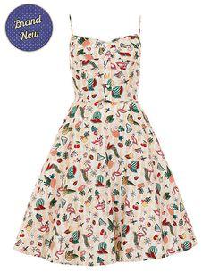 Brand New Retro 50s Style Kitsch Atomic Flamingo Fairy Swing Dress Kitsch Pin Up Rockabilly 1950s