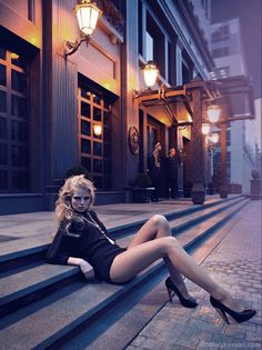 Sidewalks by Anatoly Kasyan  #fasion  #photography  Shooting at twilight in Old Town Oakland? Jack London Square?