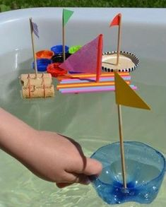 My Blue Boat. Sponge Sailboat Craft for Kids - Easy Peasy and Fun Kids Crafts, Boat Crafts, Tape Crafts, Summer Crafts, Diy And Crafts, Craft Projects, Toddler Activities, Preschool Activities, Sailboat Craft