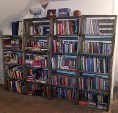 My homemade bookshelf. I went to a local farm and got 60 year old crates.They were then screwed together and into the wall for stability.