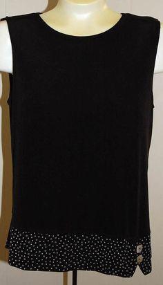 Coldwater Creek Shirt M Black Trim Travel Slinky Knit Tank Top #ColdwaterCreek #KnitTop