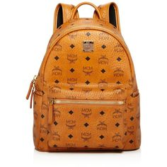 Mcm Stark Small Backpack (£616) ❤ liked on Polyvore featuring bags, backpacks, real leather backpack, knapsack bag, mcm, leather rucksack and orange backpack