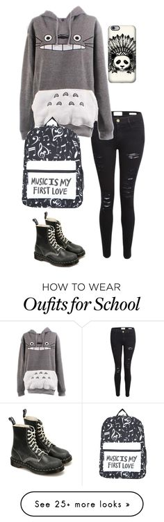 """First day of school"" by bella-whaley on Polyvore featuring Frame Denim and Dr. Martens"
