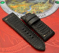 5b35d539523 2824 Black leather watch strap Pnerai style Watch Straps