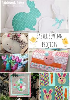 Easter sewing projects for your home. Add some fun Spring colors! The list has easter bags, table runners, pillows, wallhangings and printable applique templates Easter Projects, Sewing Projects For Beginners, Easter Crafts, Diy Projects, Bunny Crafts, Easter Ideas, Craft Stick Crafts, Diy And Crafts, Quilt Tutorials