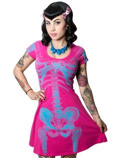 """Women's """"Skeleton"""" Flare Dress by Kreepsville 666 (Pink/Blue)"""
