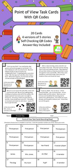 These task cards help students practice identifying the point of view in a… Reading Strategies, Reading Activities, Reading Skills, Teaching Reading, Learning, 6th Grade Ela, 5th Grade Reading, Fourth Grade, Third Grade