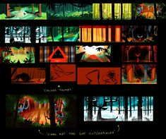 Cale Atkinson - Li'l Red Making Of Boards Color Script, Animation, Game Assets, Environment Concept Art, Visual Development, Colour Palettes, Storyboard, Mood Boards, Storytelling
