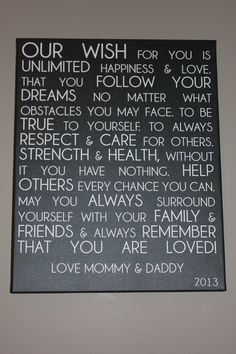 Letter from Parents to Child on Canvas #wall #Art    cool idea!