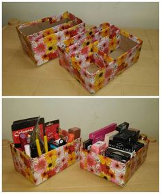 This cardboard organizer is colorful and super easy to make. You can take the help of YouTube video to construct it. Store any of your makeup items that you like here.