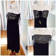 ❗️1 Hour Sale❗️4 Way Dress/Skirt by Joyous & Free Great versatile piece that will be a staple in your closet, black rayon/ spandex features a sequin top with toggle drawstrings that can be pulled to your desired fit can be worn with the toggles in the side or down front and back 2 slits at bottom.  Looks equally as a great worn as a skirt Joyeous & Free Skirts