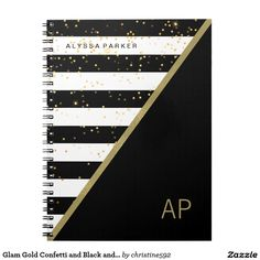 Glam Gold Confetti and Black and White Stripes Notebook Notebook Cover Design, Notebook Covers, Journal Covers, Diy Notebook Cover For School, School Notebooks, Cute Notebooks, Bookbinding Tutorial, Beautiful Notebooks, Cute School Supplies