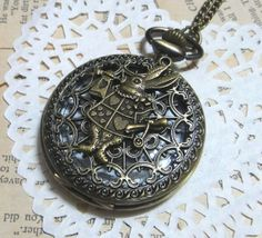 Rabbit Large Steampunk Pocket Watch Necklace  Alice by hutongyang, $4.69