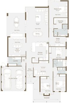 Here's a nice floor plan for a normal residential block. What I immediately liked is the multipurpose room. Here's a nice floor plan for a normal residential block. What I immediately liked is the multipurpose room. Modern Family House, Family House Plans, Bedroom House Plans, New House Plans, Dream House Plans, House Floor Plans, Home And Family, Family Houses, Big Family