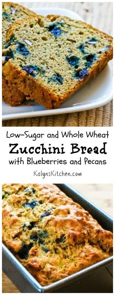 If you're experiencing an abundance of zucchini, make this Low-Sugar and Whole Wheat Zucchini Bread with Blueberries and Pecans! [from KalynsKitchen.com]