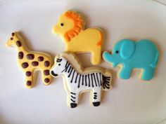 These precious safari cookies are perfect for your next baby shower or birthday party! One dozen custom safari cookies perfect for your Giraffe Cookies, Lion Cookies, Crazy Cookies, Fancy Cookies, Sugar Cookies, Jungle Theme Cakes, Safari Cakes, Zoo Birthday, Boy Birthday Parties