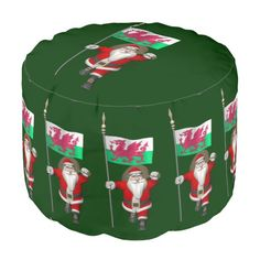 Santa Claus With Ensign Of Wales Round Pouf