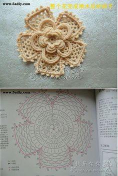 Watch The Video Splendid Crochet a Puff Flower Ideas. Phenomenal Crochet a Puff Flower Ideas. Crochet Puff Flower, Crochet Leaves, Crochet Motifs, Crochet Flower Patterns, Crochet Diagram, Freeform Crochet, Crochet Chart, Thread Crochet, Crochet Designs