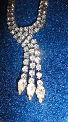 1950s tear drop rhinestone necklace