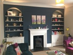 Our new living room painted in Farrow & Ball stiffkey blue & cornforth white