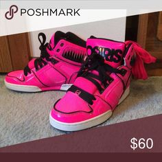 Hot Pink OSIRIS Shoes + Extra Set Hot Pink Laces Worn once, excellent condition, hot pink high tops with black and white trim and an extra set of hot pink laces OSIRIS Shoes Sneakers