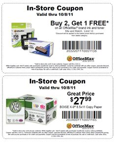 Buy 2 Get 1 FREE on all OfficeMax brand ink and toner Mix and Match