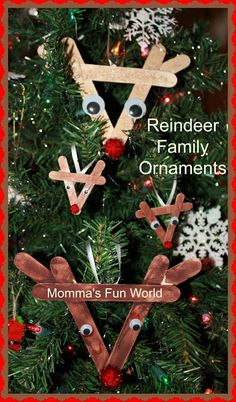 Momma's Fun World: Reindeer family ornaments with popscile sticks