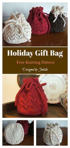 Holiday Gift Bag Free Knitting Pattern #freeknittingpattern #giftbags #christmasgifts