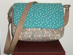 Caramel and Turquoise bird print messenger bagcanvas by SewandSewn
