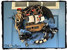 Sunken shipwreck pirate wreath Skeleton Decorations, Scary Halloween Decorations, Halloween Themes, Pirate Wreath, Black Pumpkin, Spooky House, Flower Spray, Spooky Halloween, Halloween 2020