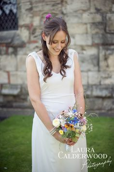 KMR Bride Hannah wearing her bespoke wedding gown. Hannah and Phil August 2014. Photo courtesy of Laura Calderwood Photography