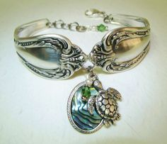 Spoon Bracelet, Silver Sea Turtle, Abalone Shell & White Pearls, Chalice 1958