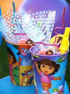 dora kid party favors, they make theses cups for every occasion, $.89 at Walmart