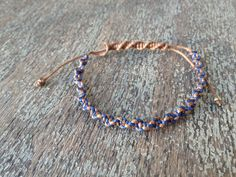Mens CoffeeWoven Friendship Bracelet:  Hand woven, helter skelter waxed cotton cord, adjustable bracelet with bronze tone seed bead ends.