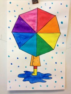 Colour wheel umbrellas - directed drawing / painting raindrops are pinky painted use black marker and rulers after pencil?