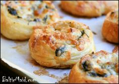 Greek Spinach and Cheese puff pastries...I might substitute feta for the gouda cheese