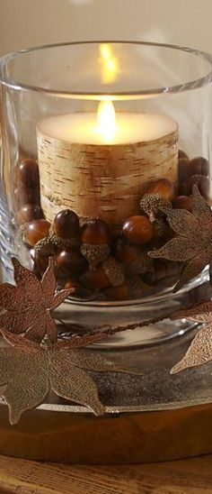 Love the candle with the acorns! And easy enough to switch over for winter, too.