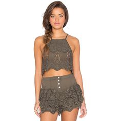 Somedays Lovin Serenade Lace Crop Top ($50) ❤ liked on Polyvore featuring tops, fashion tops, lace crop top, brown lace top, grommet top, cropped tops and keyhole top