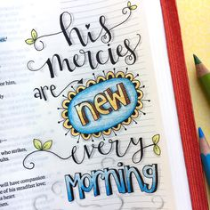 Karla Dornacher: His mercies are new every morning and every moment! Bible journaling tips and techniques. Bible Journaling For Beginners, Bible Study Journal, Scripture Study, Bible Art, Art Journaling, Journal Art, Bullet Journal, Scripture Journal, Journal Prompts