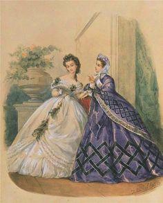 Иллюстрированная мода - 1863 год | Акварель.. Обсуждение на LiveInternet…