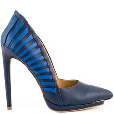 Neaten up your look with the stunning Nydia pump by L.A.M.B.  This sleek style is created with a navy leather upper and blue detailing.  A pointed toe, comfort sole and 4 3/4 inch heel perfects this gorgeous silhouette.