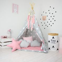 Teepee Set Kids Play Teepee Tent Tipi Kid Playhouse by MamaPotrafi