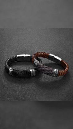 Men's Leather Bracelets, Black Leather Bracelet, Men Bracelets, Bracelet Men, Leather Jewelry, Beaded Bracelets, Men's Business Outfits, Business Casual Men, Mens Bracelet Fashion