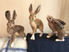 Hare Sculpture/Felt Rabbit/Felt Animals/Jack Rabbit/Needle | Etsy Jack Rabbit, Needle Felted, Light Covers, Artemis, Felt Animals, Make Time, Hare, Whimsical, Original Art