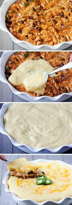 Chicken Enchilada Cornbread Pie
