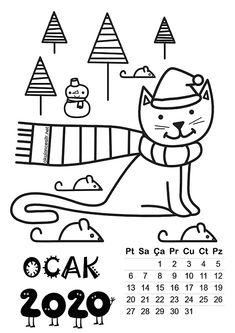 2020 Yaprak Takvim Kalıbı | OkulöncesiTR-Preschool Activities For Kids, Crafts For Kids, Kindergarten, School Calendar, Blog Writing, Pre School, Classroom Management, Coloring Pages, Adoption