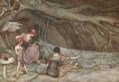 """Arthur Rackham's illustrations for Peter Pan in Kensington Gardens by J. M. Barrie, 1906 """"The little people weave their summer curtains...""""-11 of 58"""