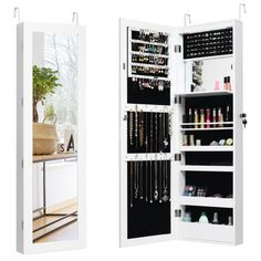 FirsTime & Co. 43 in. Rustic Arch Jewelry Armoire-81007 - The Home Depot Wall Mounted Jewelry Armoire, Mirror Jewellery Cabinet, Jewelry Mirror, Hang Jewelry, Jewelry Box, Jewelery, Jewelry Making, Small Space Organization, Wall Organization