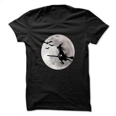 Halloween witch with a cat flies on the sky T-Shirt - #red shirt #sweater vest. ORDER NOW => https://www.sunfrog.com/Holidays/Halloween-witch-with-a-cat-flies-on-the-sky-T-Shirt.html?68278